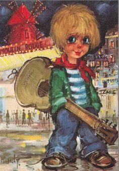 St. Wold.....   Jack met zijn gitaar en hondje.....  op de achtergrond Moullin rousse.
