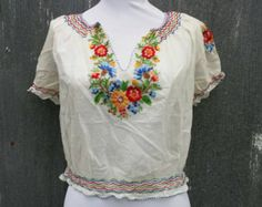 Hungarian Peasant Blouse Vintage Hand Embroidered Beauty by Vdingy