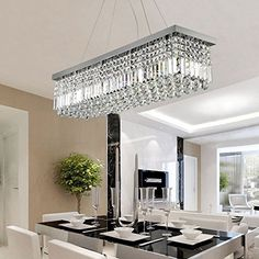 "Crystal Chandeliers For Dining Room Unique 40"" Rectangular Crystal Pendant Ceiling Lamp Dining Room Inspiration Design"