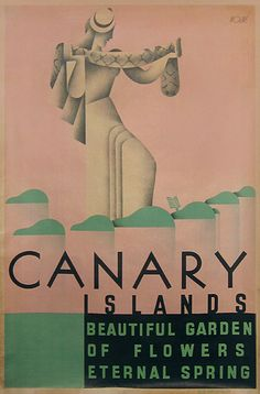 Vintage Travel Poster - Canary Islands - Spain - by Moline - 1930.