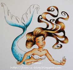 Copic Tutorial - Coloring Mermaid - Glistening Scales - bjl  COPICS:  Skin  E0000-E000-E00-E11-R20 for cheeks; Hair  E50-E53-E57-E49  Tail  BG000-BG01-BG05-BG09-100