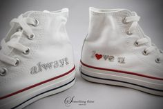 Love you sneakers Wedding Sneakers, Wedding Shoes, Always Love You, Keds, Converse Chuck Taylor, High Top Sneakers, Wedding Ideas, Organization, Crystals