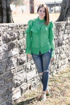 Ruffle Cold Shoulder Blouse | Greta Hollar