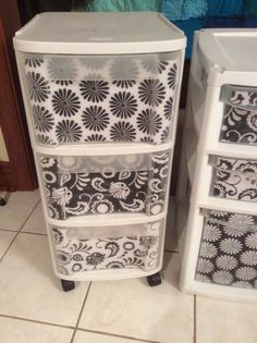Mod Podge and scrapbook paper for a designer look to organize your craft room or dorm. Black and white prints. Diy, upcycle, inexpensive