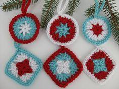 Aqua Red White Crochet Christmas Ornaments / Decor / Decorations / Retro