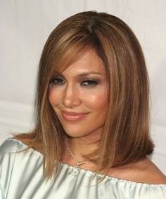 loving this lob with side-swept bangs