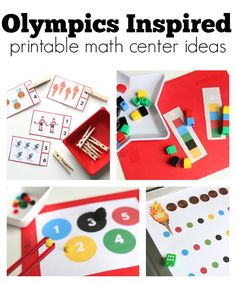 Olympics Inspired Math Center Printables (from No Time For Flash Cards)