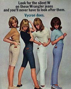 1960s Fashion, Vintage Fashion, Cheap Boutique Clothing, Girls Slip, 20th Century Fashion, Wrangler Jeans, I Love Girls, Vintage Advertisements, Vintage Ads