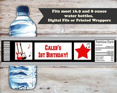 Musical Water Bottle Labels, Guitar Water Bottle Wrapper, Custom Water Bottle Label, Birthday Water Bottle Label, Digital or Printed by PartiesR4Fun on Etsy