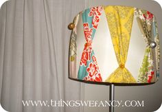 Hillary & Breann from Things We Fancy have been busy being crafty and are sharing an amazingly cute DIY lampshade today! Here is an easy tutorial on how to dress up any ole' boring lampshade Things We Fancy style! Old Lamp Shades, Shabby Chic Lamp Shades, Modern Lamp Shades, Chandelier Shades, Lampshade Redo, Fabric Lampshade, Lampshades, Lamp Redo, Decorate Lampshade