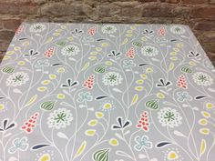 Grey floral tablecloth, white  blue yellow red flower,  Scandinavian design, great GIFT by SiKriDream on Etsy