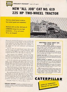 1959 Caterpillar Tractor Co Peoria IL Ad Cat No 619 Two Wheel Tractor 225 HP