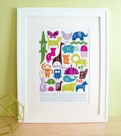 About this print: Original animal alphabet illustration by Ampersand Design Studio. Alphabet Wall Art, Cute Alphabet, Alphabet Cards, Alphabet Print, Animal Alphabet, Abc Wall, Alphabet Posters, Animal Letters, Abc Poster