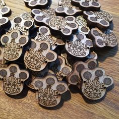 "Custom Laser Cut Wooden Buttons personalised tags lables 1"" 25mm 3mm thick"
