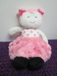 Baby Starters Plush Doll Pink Furry Skirt Polka Dots Black  Shoes Stuffed Toy  #BabyStarters