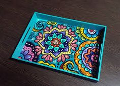 Timestamps DIY night light DIY colorful garland Cool epoxy resin projects Creative and easy crafts Plastic straw reusing ------. Dot Art Painting, Mandala Painting, Ceramic Painting, Painting On Wood, Decoupage Vintage, Decoupage Box, Painted Trays, Painted Boxes, Hand Painted