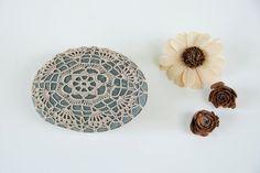 Hand crochet lace stone rustic beach ecru lace by TableTopJewels, $35.00