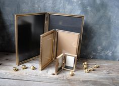 Featured here 'Metallic Works' by gazaboo on Etsy--Vintage Gold Tone Metal Hinged Frames: Instant Collection Double Picture Frames, Wedding Decor by Untried on Etsy