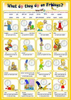 "Present simple ""Present Simple tense worksheet - Free ESL printable worksheets made by teachers"", ""Multi-purpose task: reading, listening and writing. English Time, Kids English, Learn English, English Resources, English Activities, English Lessons, English Vocabulary, English Grammar, Teaching English"