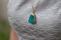 Raw Turquoise Gold Necklace . Natural Gemstone by SHAZOEY on Etsy, $112.00