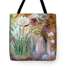 Abstract Tote Bag featuring the painting Floral Abstract by Donna Painter