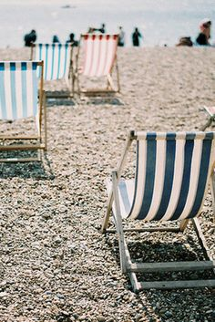 faded striped deckchairs