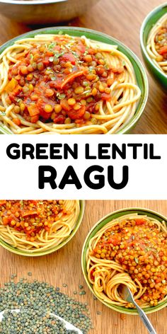 Green lentils add a delicious, nutty flavour to this vegan ragu. We love to eat this lentil bolognese sauce with spaghetti for a tasty veggie spag bol, on vegan pizza, and in lasagne and calzones. This wholesome lenti ragu is nutritious and protein packed, perfect for your next vegan dinner! Customise this recipe to include seasonal veg and you can enjoy a different twist on it all year round.   #easylentilrecipes #veganlentilrecipes #pasta #greenlentils Lentil Ragu, Lentil Bolognese, Bolognese Sauce, Vegan Lentil Recipes, Vegan Vegetarian, Vegan Style, Green Lentils, Vegan Pizza, Vegan Dinners