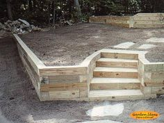 landscape timber retaining wall pictures - All About Garden Backyard Retaining Walls, Retaining Wall Design, Garden Retaining Wall, Sloped Backyard, Sloped Garden, Backyard Patio, Backyard Landscaping, Landscaping Ideas, Retaining Wall With Steps