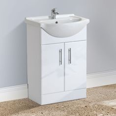 JERSEY Freestanding White Basin Vanity Unit - 550mm Freestanding Vanity Unit, Basin Vanity Unit, Vanity Units, Big Bathrooms, Bathroom Basin, Double Doors, Storage Spaces, The Unit, Furniture