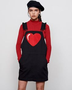 Lazy Oaf Chenille Heart Pinafore Dress - Everything - Categories - Womens