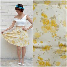1970 Vintage Skirt/ Honey Rose Skirt/ XS Skirt/ Small Skirt/ Floral Skirt/ Yellow Skirt/ Flirty Chic Skirt/ Flowy Cute Skirt/ Summer Skirt by HEIRESSxVintage on Etsy