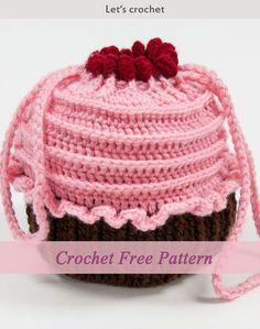 Crochet Free Pattern - Cupcake Purse #freecrochetpatterns #purse