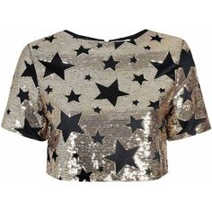 Black And Gold Star Embellished Crop Top (€98) ❤ liked on Polyvore featuring tops, shirts, gold, sequin top, party tops, black and gold top, gold shirt and sequin shirt