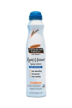 """I used this all during my first pregnancy to stay moisturized and keep stretch marks at bay. But I also use it on set, if one of my clients is really dry. With the lightweight spray, you can get it on the legs and body really quickly."" Palmer's Cocoa Butter Formula Rapid Moisture Spray Lotion, $8, palmers.com."