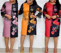 Foreverfad 2019 flowers print connected women dresses 6041 Big Dresses, Large Size Dresses, Simple Dresses, Dresses For Work, Wedding Hairstyles For Girls, European Dress, Short Gowns, Latest African Fashion Dresses, Church Outfits