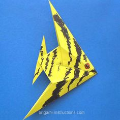 Origami angel fish with folding instructions