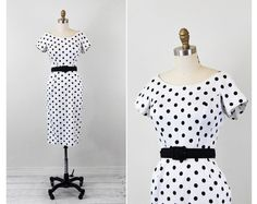 vintage 1950s 50s dress // Black and White Polkadot Wiggle Dress with Matching Belt and Pockets