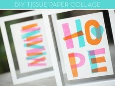 Colorful DIY tissue paper collages