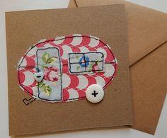 stitched card, fabric greeting card, fabric cards, fabric birthday cards, hand stitched greeting card, retirement card, gap year, caravan