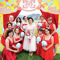 The bridesmaids carried DIY-ed faux cotton candy (no melting!) bouquets at this carnival-themed wedding, via Brides.com