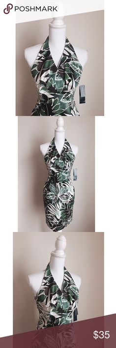 Sexy Hourglass Halter Dress NWT ✨ Gorgeous patterned halter dress - Perfect hourglass shape for a sexy silhouette - Back zipper closure - Soft material ⚜ Size 2P Jones New York Dresses