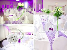 Picture result for the table decoration wedding round table - flowers - . Table Decoration Wedding, Purple Wedding Centerpieces, Banquet Decorations, Wedding Table, Our Wedding, Dream Wedding, Wedding Ideas, Wedding Stuff, Wedding Inspiration