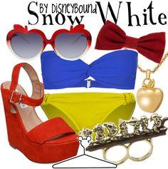 Snow White Bikini by Disney Bound Fashion Disney Outfit Disney Bound Outfits, Disney Inspired Outfits, Themed Outfits, Disney Style, Snow White Outfits, Estilo Disney, Snow White Disney, White Swimsuit, Disney Girls
