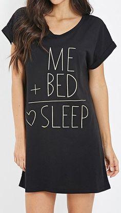 Me + bed = <3 sleep | long black tee dress