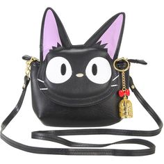 Studio Ghibli Kiki's Delivery Service Jiji Crossbody Bag Hot Topic (420 ARS) ❤ liked on Polyvore featuring bags, handbags, shoulder bags, crossbody flap handbags, crossbody flap purse, shoulder strap bag, crossbody shoulder bags and cross body