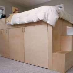Reader Project: Loft Bed (and a lot more) - - Skill and imagination can be dangerous, turning small problems into huge solutions. But here's a chain-reaction project that worked out for the. Cool Bunk Beds, Queen Loft Beds, Adult Loft Bed, Attic Bed, Loft Bed Plans, Loft Storage, Bedding Inspiration, Teen Bedding, Decor Room