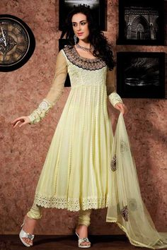 Light Yellow Anarkali Suit  Check out this page now :-http://www.ethnicwholesaler.com/salwar-kameez/anarkali-salwar-kameez