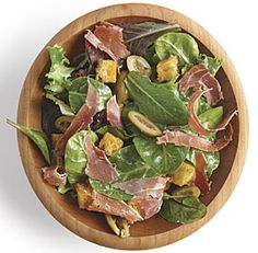 Mixed Green Salad with Olives, Serrano Ham, and Sherry Vinaigrette