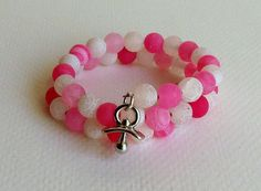 New Mother's Bracelet Pink and White Fire Agate Memory