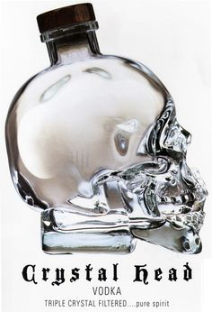 commercial Skull design: ••Crystal Head Vodka•• owned by Dan Aykroyd! • depicted: ad for 1750 ml 40 degree Magnum bottle クリスタルウォッカ • www.CrystalHeadVodka.com